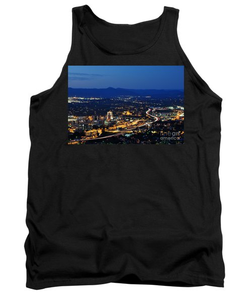 Roanoke City As Seen From Mill Mountain Star At Dusk In Virginia Tank Top