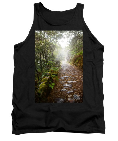 Rocky Trail In The Foggy Forest Tank Top