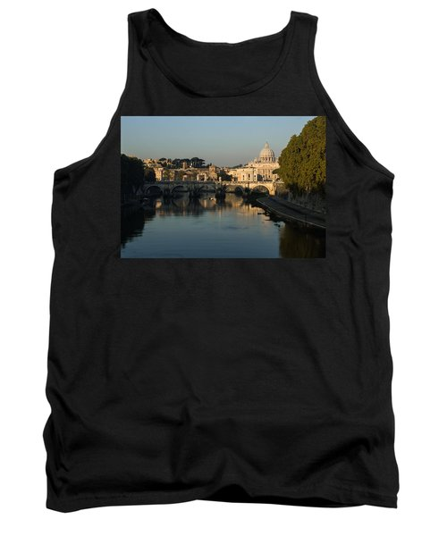 Rome - Iconic View Of Saint Peter's Basilica Reflecting In Tiber River Tank Top