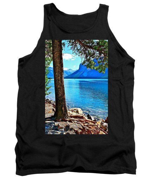 Rooted In Lake Minnewanka Tank Top by Linda Bianic