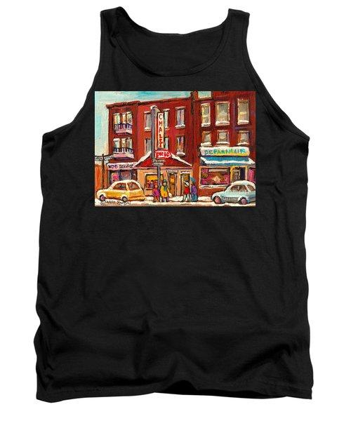 Rotisserie Le Chalet Bar B Q Sherbrooke West Montreal Winter City Scene Tank Top by Carole Spandau