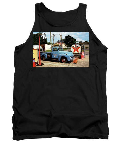 Route 66 - Gas Station With Watercolor Effect Tank Top by Frank Romeo
