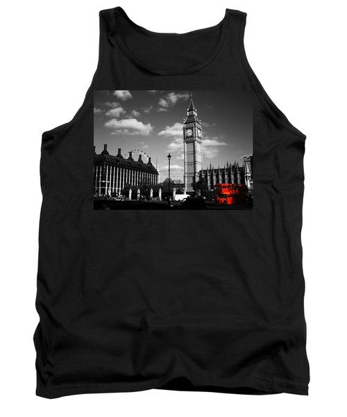 Routemaster Bus On Black And White Background Tank Top