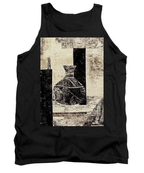 Rustic Vase Black And White Tank Top by Patricia Cleasby