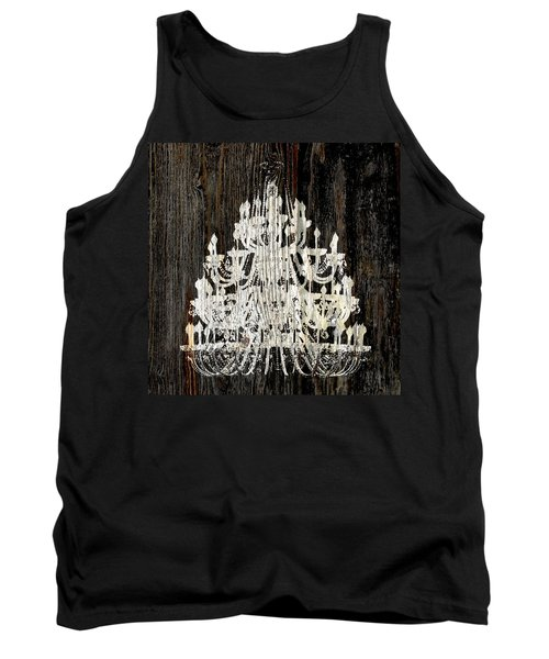 Rustic Shabby Chic White Chandelier On Wood Tank Top by Suzanne Powers