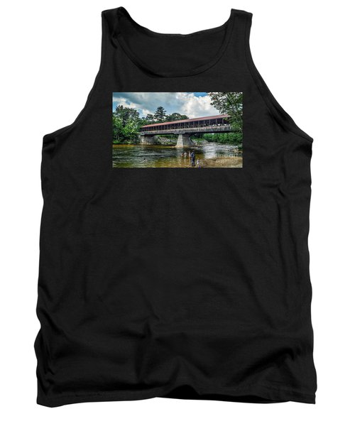 Tank Top featuring the photograph Saco River Covered Bridge  by Debbie Green