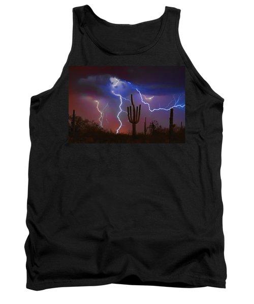 Saguaro Lightning Nature Fine Art Photograph Tank Top