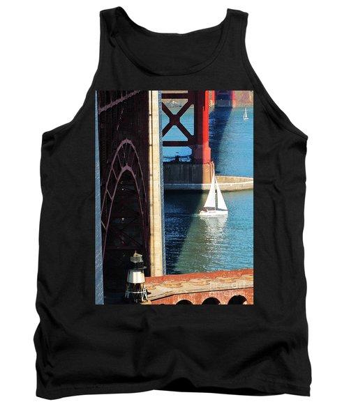 Sail Boat Passes Beneath The Golden Gate Bridge Tank Top
