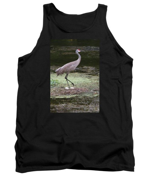 Tank Top featuring the photograph Sandhill Crane And Eggs by Paul Rebmann
