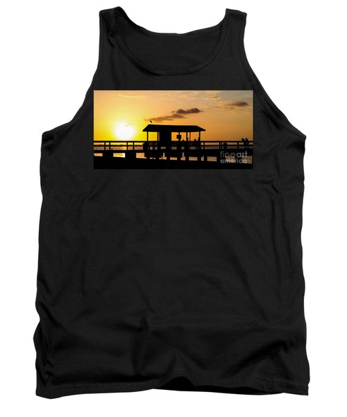 Sanibel Island Fishing Pier Florida Sunset Tank Top