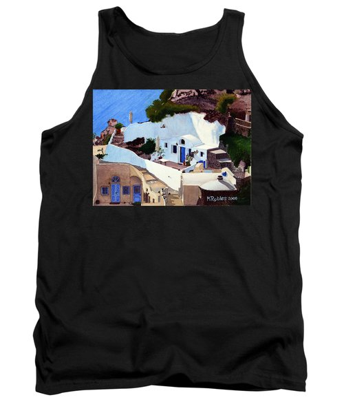 Santorini Cave Homes Tank Top by Mike Robles