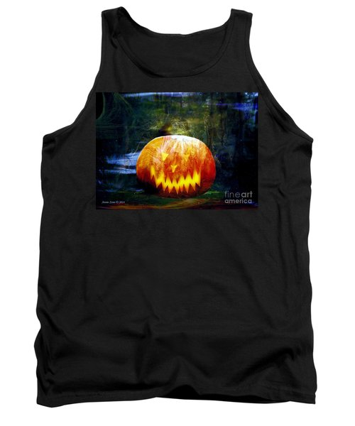 Tank Top featuring the photograph Scary Pumpkin Halloween Art by Annie Zeno