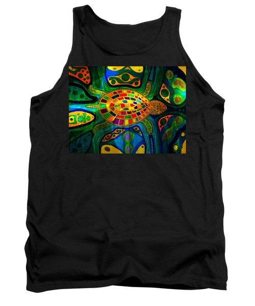 Sea Turtle - Abstract Ocean - Native Art Tank Top