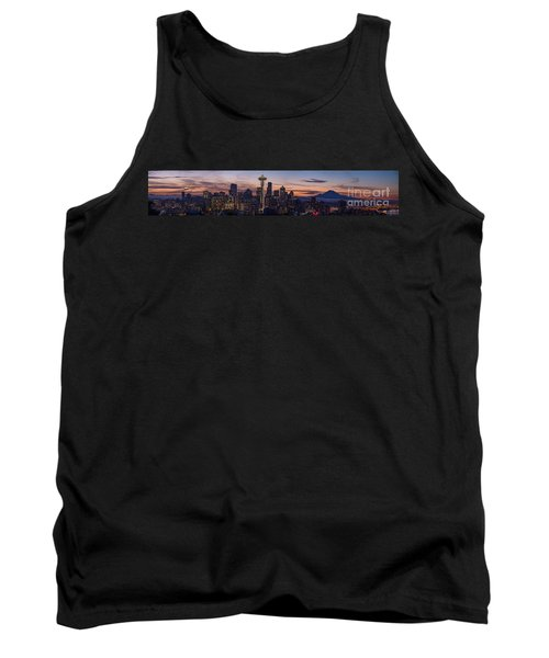 Seattle Cityscape Morning Light Tank Top by Mike Reid