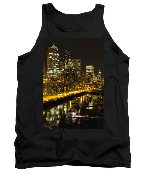 Tank Top featuring the photograph Seattle Downtown Waterfront Skyline At Night by JPLDesigns