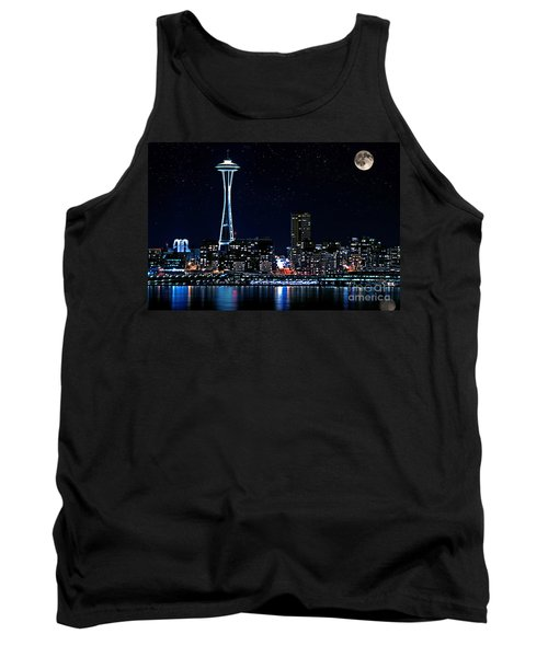 Seattle Skyline At Night With Full Moon Tank Top by Valerie Garner