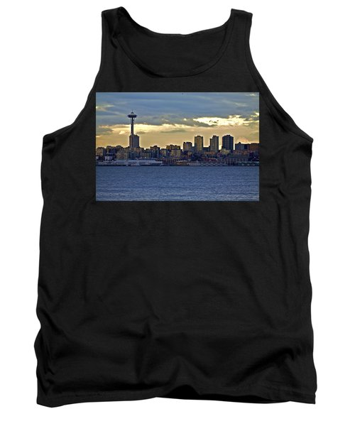 Seattle Skyline In Twilight Tank Top