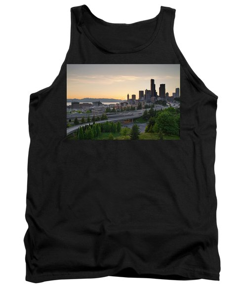 Tank Top featuring the photograph Seattle Washington Downtown City Sunset by JPLDesigns