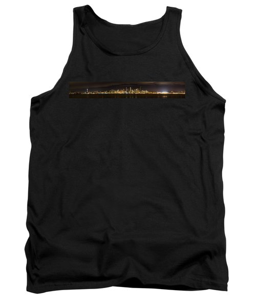 Tank Top featuring the photograph Seattle Waterfront At Night Panoramic by Chris McKenna