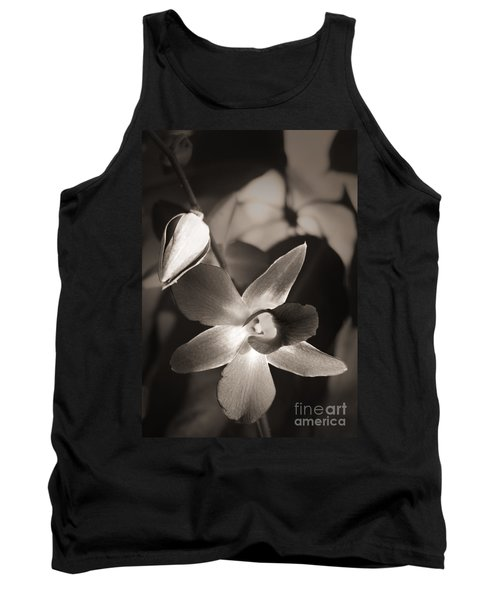 Tank Top featuring the photograph Sepia Orchid by Ellen Cotton