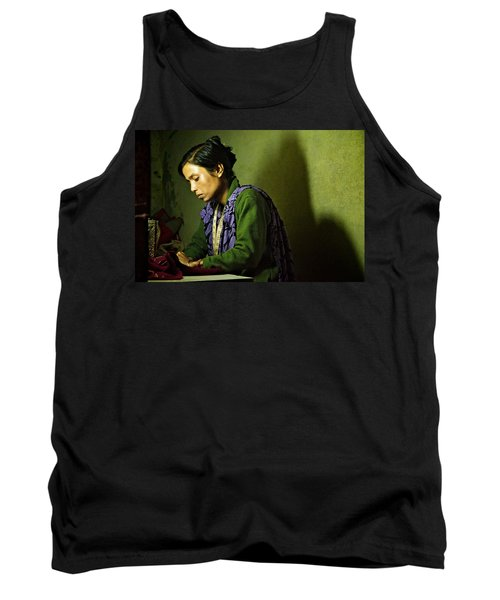 She Sews Into The Night Tank Top by Valerie Rosen