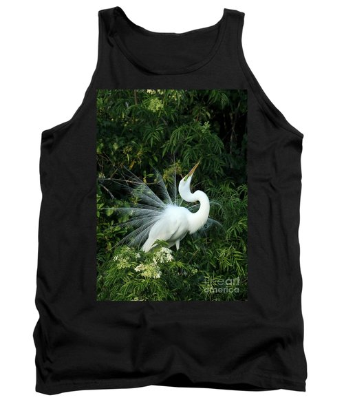 Showy Great White Egret Tank Top
