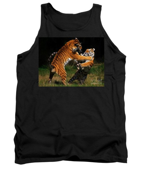 Siberian Tigers In Fight Tank Top by Nick  Biemans