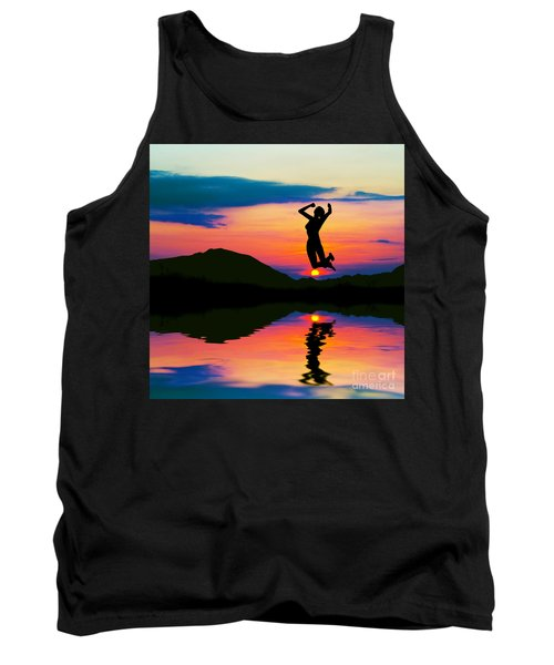 Silhouette Of Happy Woman Jumping At Sunset Tank Top