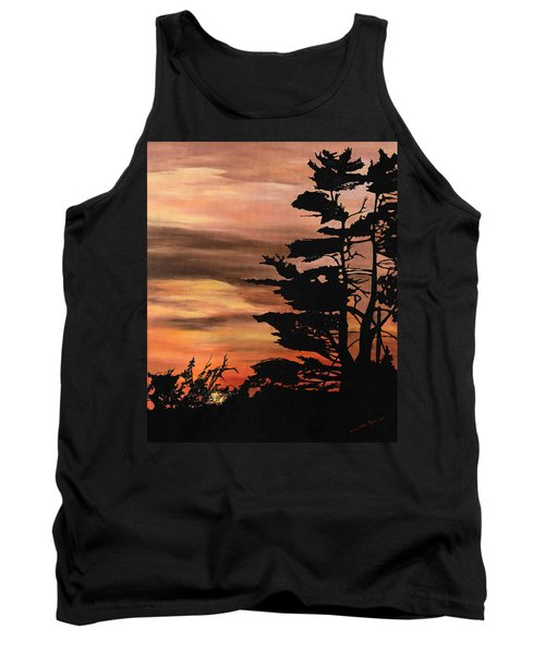Tank Top featuring the painting Silhouette Sunset by Mary Ellen Anderson