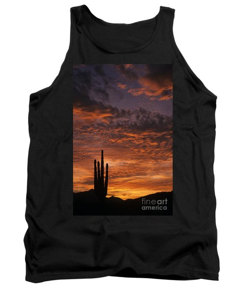 Silhouetted Saguaro Cactus Sunset At Dusk With Dramatic Clouds Tank Top