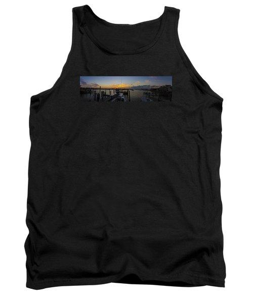 Silver Lake Sunset Panorama Tank Top by Greg Reed