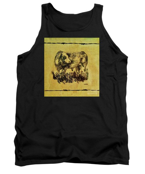 Simmental Bull 12 Tank Top by Larry Campbell