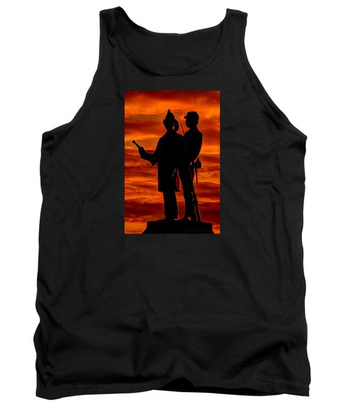 Sky Fire - 73rd Ny Infantry Fourth Excelsior Second Fire Zouaves-b1 Sunrise Autumn Gettysburg Tank Top by Michael Mazaika