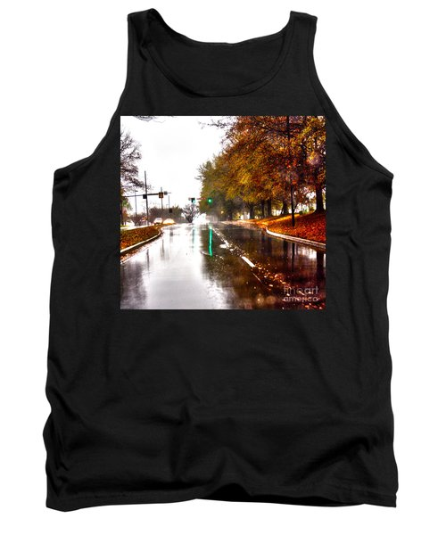 Tank Top featuring the photograph Slick Streets Rainy View by Lesa Fine