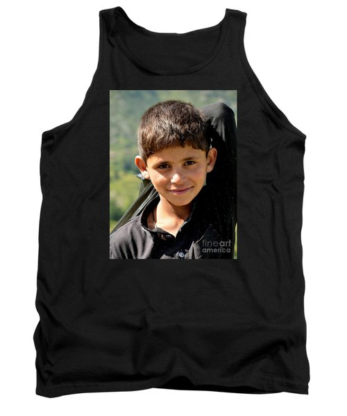 Tank Top featuring the photograph Smiling Boy In The Swat Valley - Pakistan by Imran Ahmed