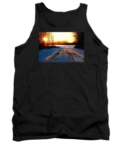 Snowy Anchorage Sunset Tank Top by Cynthia Lagoudakis