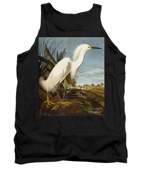 Snowy Heron Or White Egret Tank Top by John James Audubon