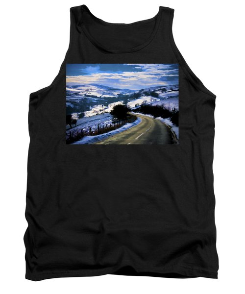 Snowy Scene And Rural Road Tank Top