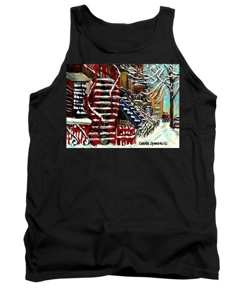 Snowy Steps The Red Staircase In Winter In Verdun Montreal Paintings City Scene Art Carole Spandau Tank Top