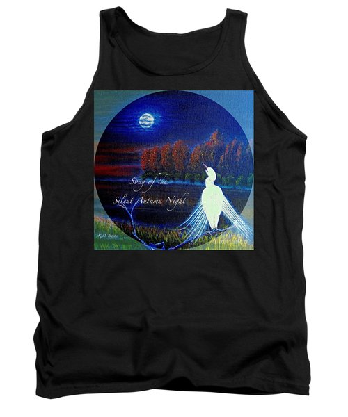 Song Of The Silent  Autumn Night In The Round With Text  Tank Top by Kimberlee Baxter