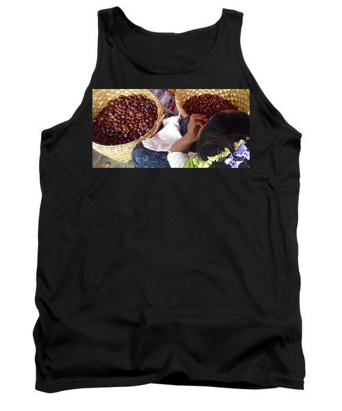 Tank Top featuring the photograph Sorting Water Chestnuts Zay Cho Street Market 29th Street Mandalay Burma by Ralph A  Ledergerber-Photography