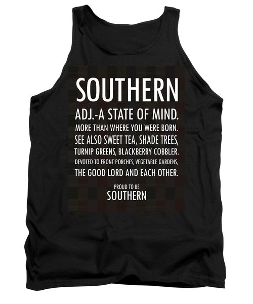 Southern State Of Mind Black And White Tank Top by Debbie Karnes