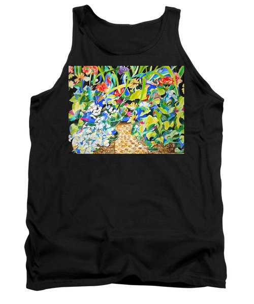 Tank Top featuring the painting Spring Flowers In A Brown Basket by Esther Newman-Cohen