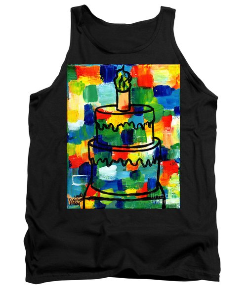 Stl250 Birthday Cake Abstract Tank Top by Genevieve Esson