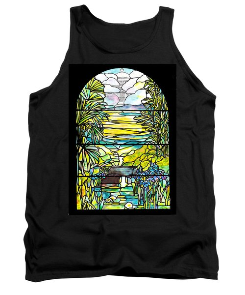 Stained Glass Tiffany Holy City Memorial Window Tank Top by Donna Walsh