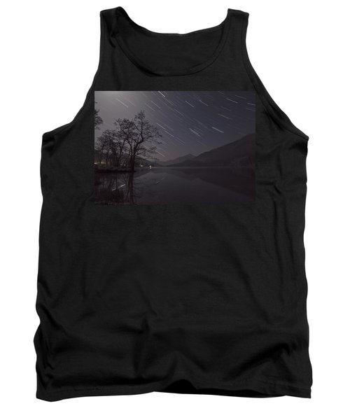Star Trails Over Lake Tank Top by Beverly Cash