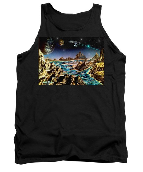 Tank Top featuring the painting Star Trek - Orbiting Planet by Michael Rucker