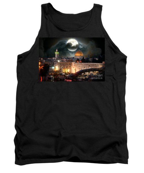 Full Moon At The Dome Of The Rock Tank Top