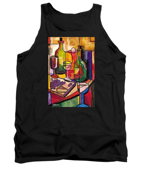 Still Life Of Fruit Wine And Cheese Tank Top