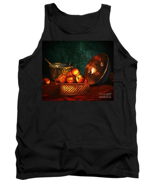 Tank Top featuring the digital art Still Life With Peaches And Copper Bowl by Lianne Schneider